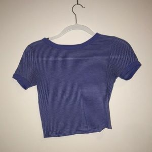Cropped blue and white stripe top